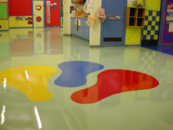 Floor after Custom Colour Resin Floor Treatment with Specially designed Graphics