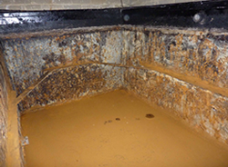 Bitumen / Galvanised Water Tank Lining - Before Treatment