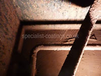 Hot well, hot water tank, extensive corrosion, craters & pitting