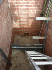 Damp Brick chamber lining - before treatment