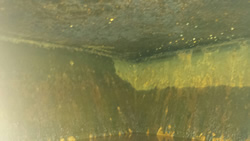 Narrowboat - Silk Dream, Water Tank Lining. Before Treatment. Photo curtesy of Nick Taylor.