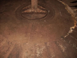 Detail of diesel fuel storage tank floor. Typical level of corrosion.