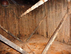 Rusty Bitumen / Galvanised Braithwaite Water Tank Lining - Before Treatment